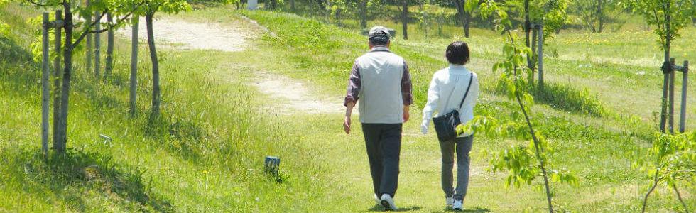 散歩する夫婦の画像